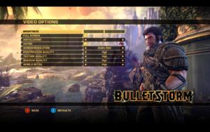 In-game video settings.