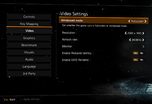 Ingame video settings.