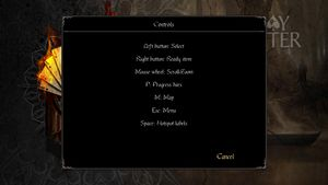 In-game non-interactive Controls information screen.