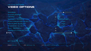 Video settings (single player).