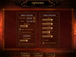 Display, Audio and Controls settings.