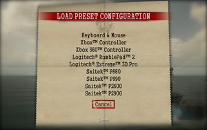 A collection of pre-set control layouts for specific gamepads are available.