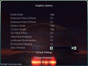 Default graphics settings.