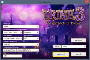 Launcher options menu.