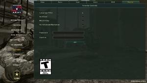 In-game parental lock settings.