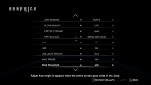 In-game graphics settings.
