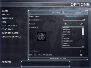 In-game multiplayer settings.