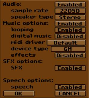 Exult audio settings.