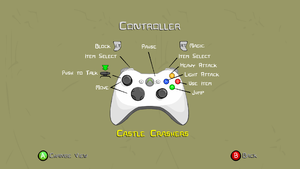 The gamepad layout for Castle Crashers.