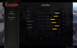In-game audio volume settings.