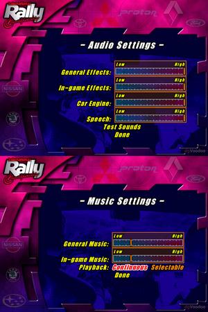 Audio settings menus.