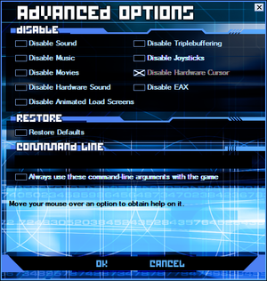Advanced Options in Tron 2.0 game launcher.