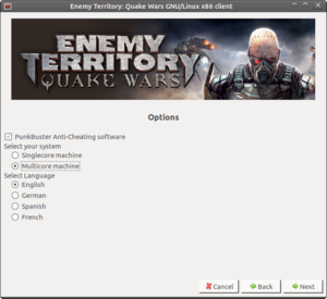 MojoSetup installer options.