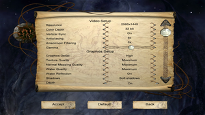 In-game options menu (1/2).