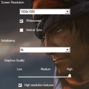 Graphics settings in the launcher.