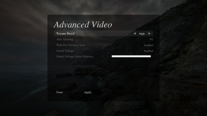 Advanced video settings.
