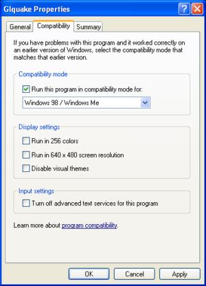 Windows XP Compatibility Settings.