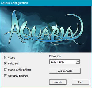 External options menu. Launched if configuration file is missing or corrupted or directly opened from <path-to-game>\AQConfig.exe.