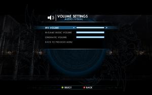 In-game volume settings.