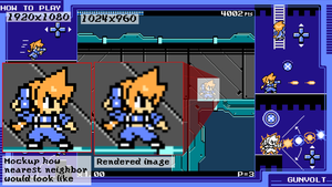 Example of game running with 1920x1080. Whole screen is used, game itself is within 1024x960 5:3 aspect ratio window. Game is upscaled from lower resolution with Bilinear interpolation making image look blurry. On the left side, mockup how Nearest neighbor would look like.
