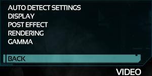 Video Settings menu.