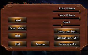 In-game menu and settings.