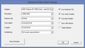 Game launcher advanced video settings.