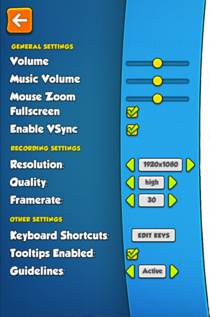 General settings. Please note that middle section is for video recording settings, not graphical settings.