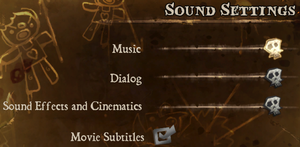 Audio settings.