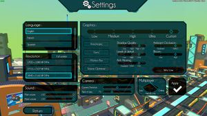 Resolution, graphics and assorted settings.