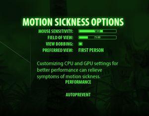 Motion Sickness prevention settings.