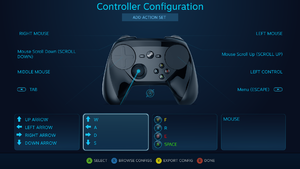 The Controller Configurator in legacy mode using a Steam Controller.