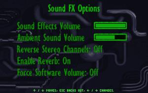 Sound FX settings.