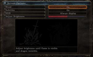 Screen option menu.