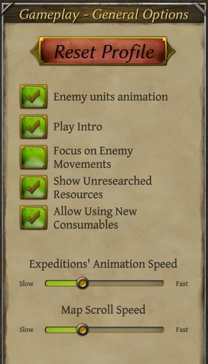General gameplay settings.