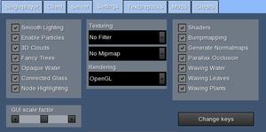 In-game settings menu