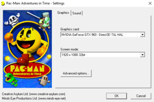 Pac-Man: Adventures in Time graphics -setup menu.