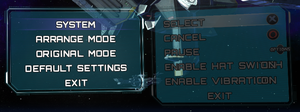 Key rebinding and input settings.