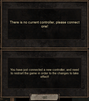 When removing controller with controller support enabled, the game requires one to be connected (top). If a controller is plugged in with controller support disabled or a new controller is detected a popup details that it won't be usable without restarting the game (bottom).