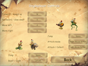 Single player input settings.
