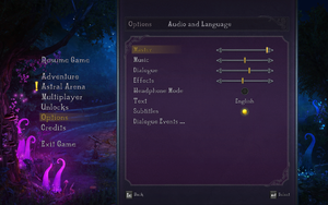 In-game audio settings 1.
