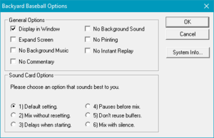 "General and sound card options, accessed from pressing Space and selecting ""Options...""."