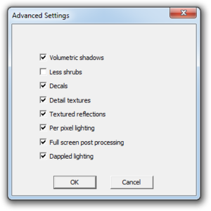 Launcher advanced video settings.