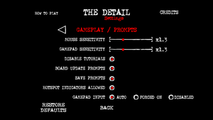 In-game controls and gameplay settings.
