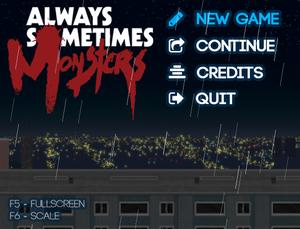 Games main menu telling keys to change fullscreen and scaling.