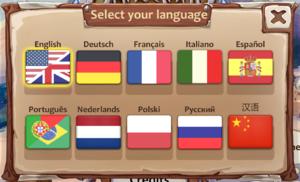 Language selection.