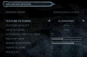 PC Video settings.