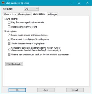 External audio settings (for the fan patch.)