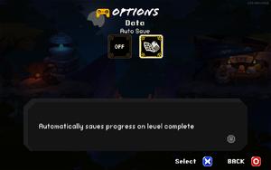 In-game data settings.