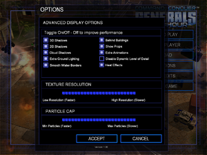 In-game advanced video settings for Zero Hour expansion.